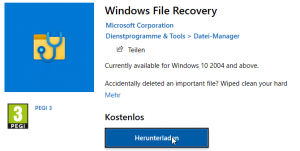 Preview Windows File Recovery - Microsoft Tool für die Datenrettung