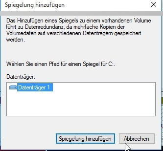 Preview Festplatte spiegeln in Windows 10 - Software Raid - Plex